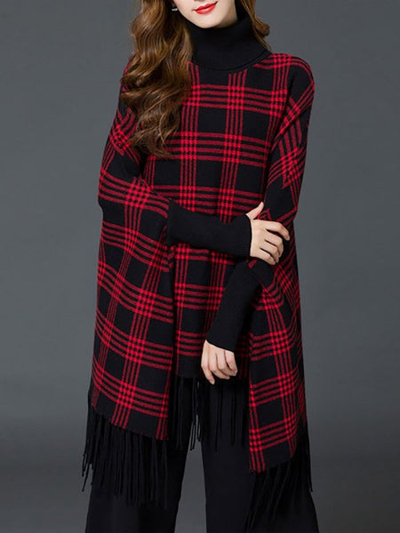 Checkered/Plaid Elegant Sweaters-Sweaters-Chicloth