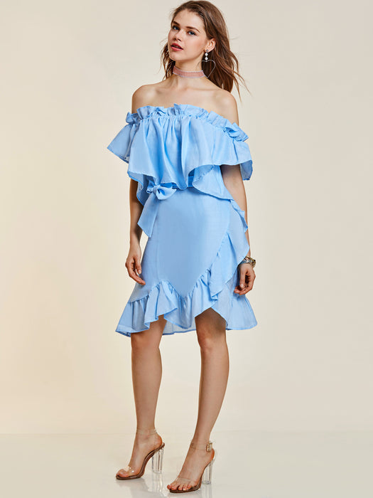 Chicloth Blue Slash Neck Falbala Patchwork Dress-Dress-Chicloth