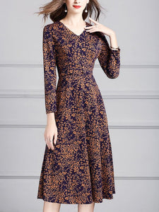 Brown A-line Holiday V Neck Printed Leaf Long Sleeve Midi Dresses