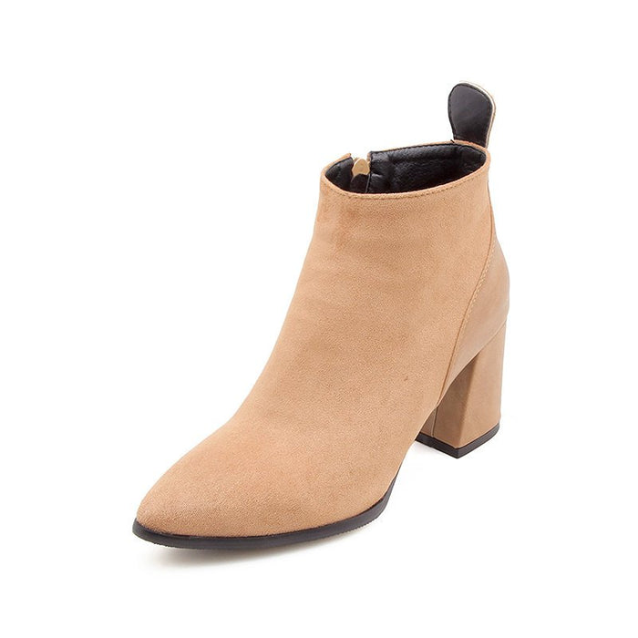 A| Chunky Heel Suede Elegant Round Boots-Boots-Chicloth