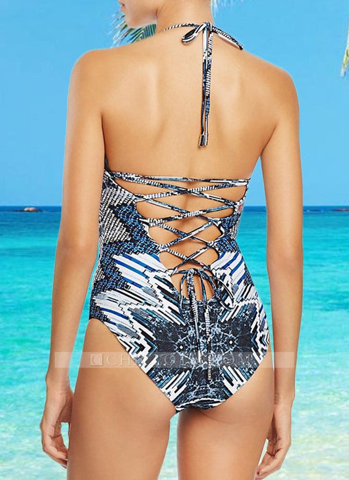 C| Chicloth Lace Up Print Halter Tie Strappy Back Swimsuit-polyester,nylon,onepieceswimsuit-Chicloth