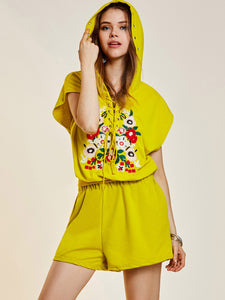 Chicloth Yellow Hooded Embroidered Bandage Shorts Set