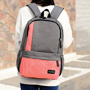 A| Chicloth All Match Color Block Canvas Backpack