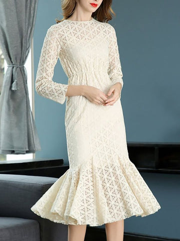 Apricot Mermaid Daily Elegant Guipure lace Solid Midi Dress