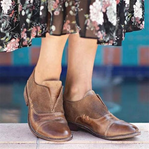 A| Chicloth Vintage Slip On Oxford Shoes Paneled Low Heel Loafers Boots-Boots-Chicloth