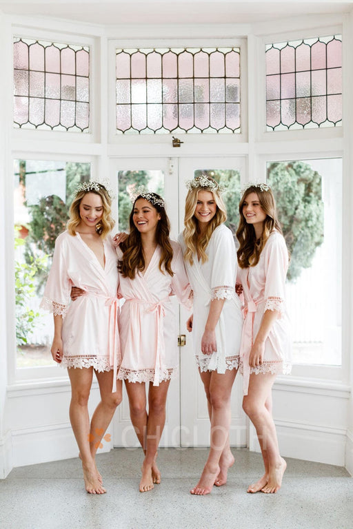 Chicloth Personalized Bride Bridesmaid Lace Robes