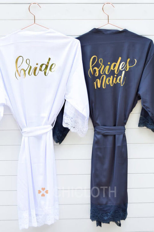 Chicloth Satin  Bridal Party Bridesmaid Gift Kimono Robe