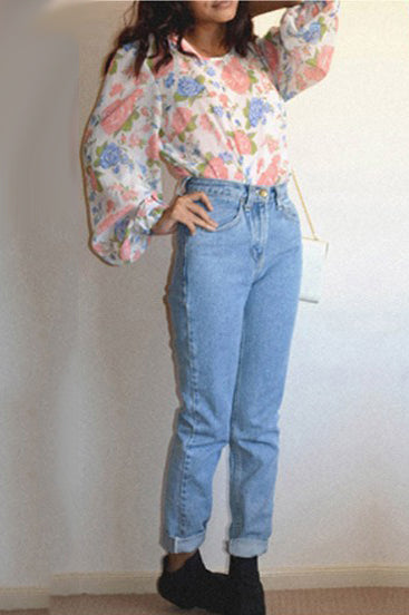 A| Chicloth Light Blue Pockets High Waisted Boyfriend 90's jeans Vintage Mom Jeans Cheap-Jeans-Chicloth