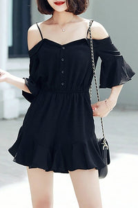 A| Chicloth Black Frill Sleeve Ruffled Solid Cold Shoulder Holiday Romper
