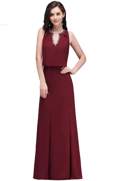 A| Chicloth Burgundy V Neck Boho Style Sexy Split Side Sleeveless Dresses-New Evening Dress 1703-Chicloth