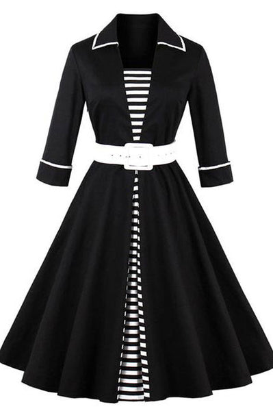 Chicloth Black Striped Women Long Sleeve Plus Size Vintage Dresses