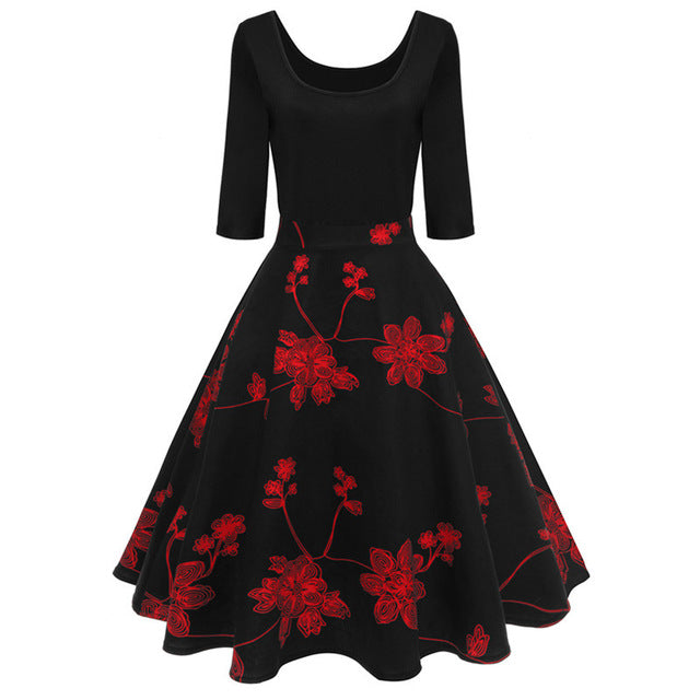 New Red Floral Printed Vintage Dresses Half Sleeve Party Dressed - Chicloth