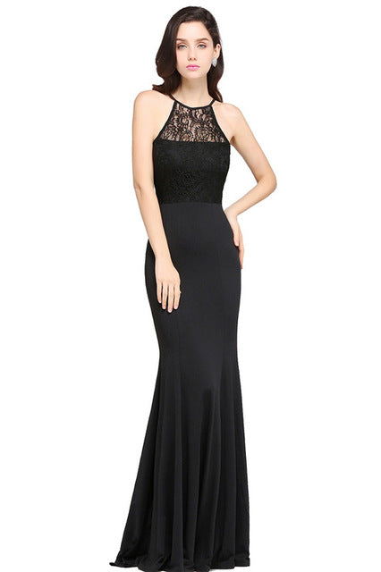 A Chicloth Sexy Black Lace Mermaid Long Summer Dress 2018 Halter Neck