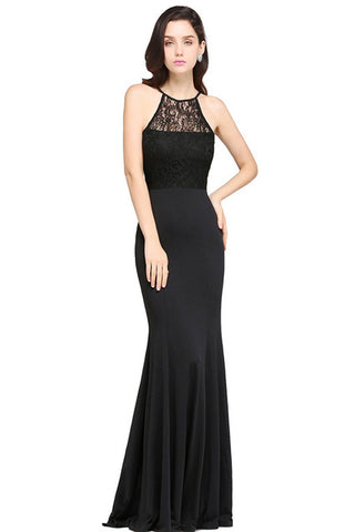 A| Chicloth Sexy Black Lace Mermaid Long Summer Dress 2018 Halter Neck Dress-New Evening Dress 1703-Chicloth