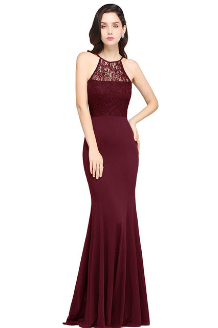 A/ Chicloth Sexy Black Lace Mermaid Long Summer Dress 2018 Halter Neck  Dress - burgundy / L