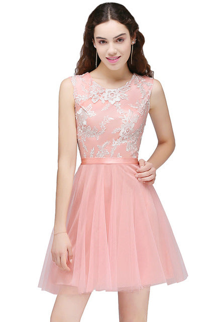 A| Chicloth Real Image Pink Lace Appliques Mini Dresses Sleeveless Short 8th Grade Party Dresses-New Evening Dress 1703-Chicloth