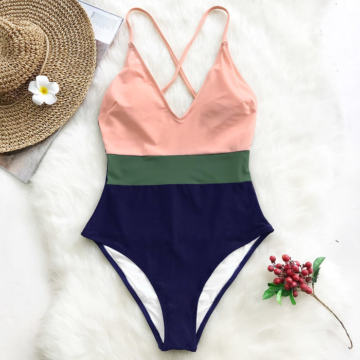 Chicloth Cross Block Swimsuit Women V-neck Backless Patchwork  One-piece