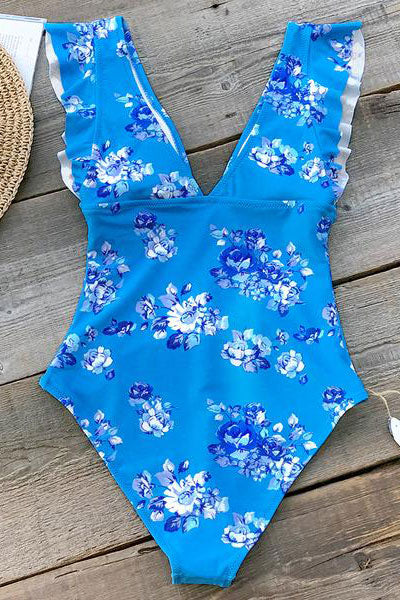 Chicloth Elegant Blue Floral Print One-Piece Swimsuit