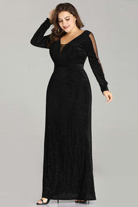 Plus Size Evening Dresses Long Elegant V-neck Velvet Long Sleeve Black Wedding Guest Gowns
