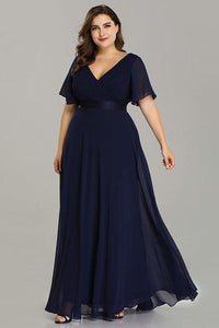 Plus Size Evening Dresses Elegant V-Neck Ruffles Chiffon Formal Evening Gown Party Dress