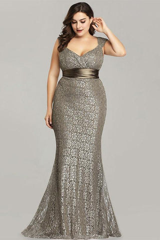 Plus Size Evening Dresses Elegant Mermaid Lace Sleeveless Party Gowns