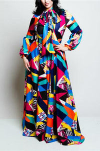 A| Chicloth Plus Size Colorblocked Bow Maxi Dress