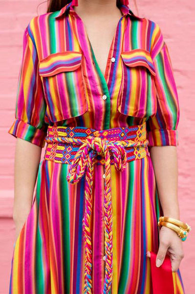 A| Chicloth Button Down Collar Stripes Roll Up Sleeve Maxi Vacation Dresses - Chicloth