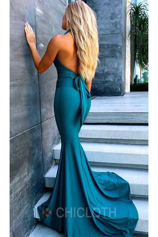 AA| Chicloth Open Back Floor Length Mermaid Prom Dress Halter Neck Evening Dress