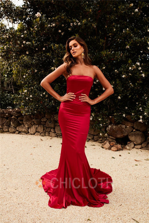 A| Chicloth Mermaid Train Burgundy Satin Long Prom Dresses