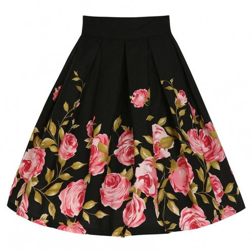 Chicloth Spring Delight Black Floral Skirt-Chicloth