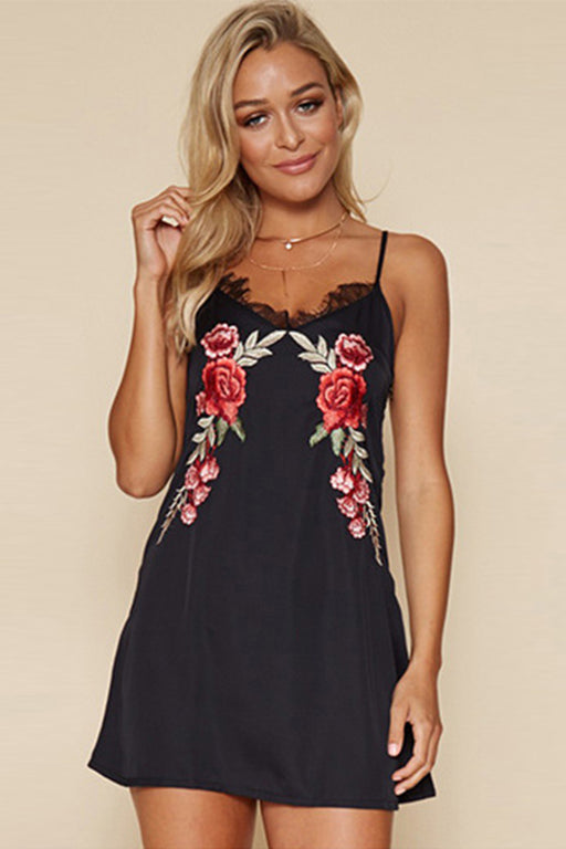 B| Chicloth A-Line Spaghetti Strap Sleeveless Floral Embroidery Mini Dress-Chicloth
