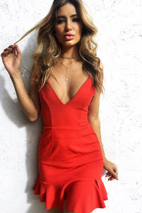 B| Chicloth Fashion Spaghetti Strap Backless Flounce Dress - Chicloth
