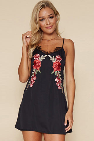 B| Chicloth A-Line Spaghetti Strap Sleeveless Floral Embroidery Mini Dress - Chicloth