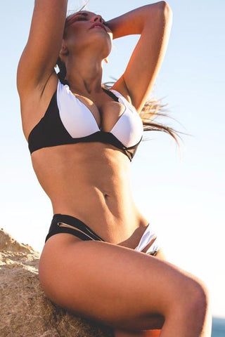 A| Chicloth Black And White Polyamide Halter Solid Bikinis Swimwear
