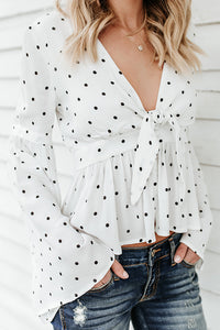 A| Chicloth Black Polka Dots Tie Blouse-Chicloth
