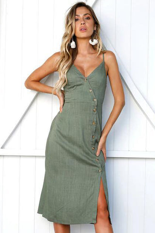 A| Chicloth Army Green Buttons Sleeveless Split V-neck Dress - Chicloth