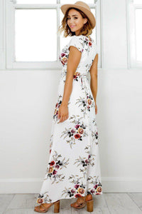 A| Deep V Neck Short Sleeve Floral Printed Split Maxi Dress - Chicloth