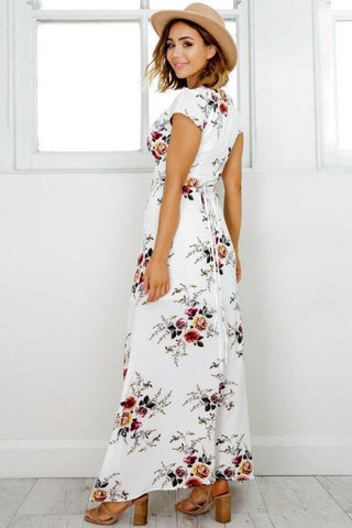 B| Deep V Neck Short Sleeve Floral Printed Split Maxi Dress-Chicloth