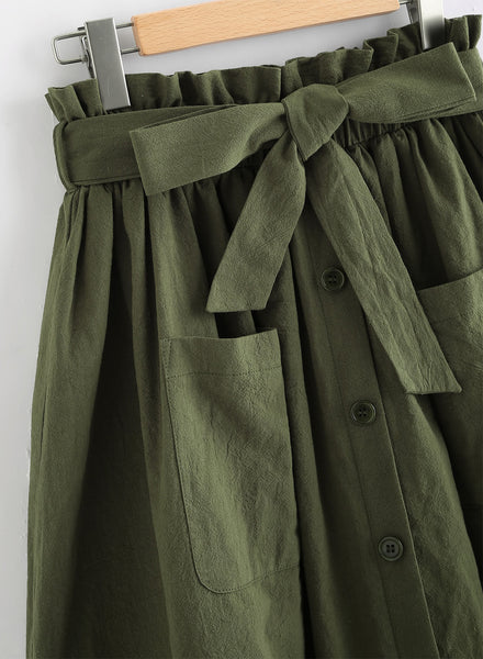 A| Chicloth Fashion Bow Tie Waist A-line Skirt-Chicloth