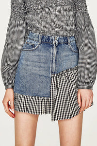 A| Chicloth Fashion Plaid Denim Panel Mini Skirt-Chicloth