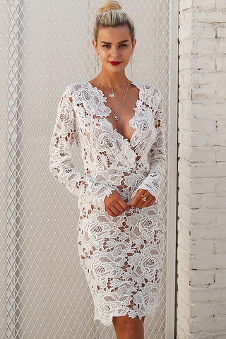 A| Chicloth Fashion V Neck Long Sleeve Lace Bodycon Midi Dress - Chicloth