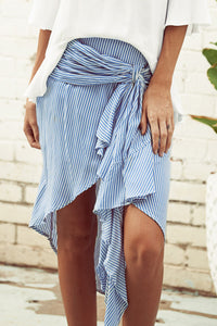 A| Chicloth High Wasit Irregular Striped Skirt with Belt - Chicloth