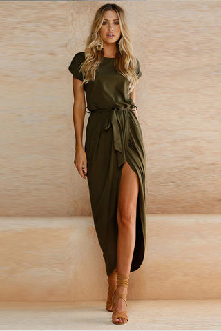 A| Chicloth Short Sleeve High Slit Solid Maxi Dress with Belt - Chicloth