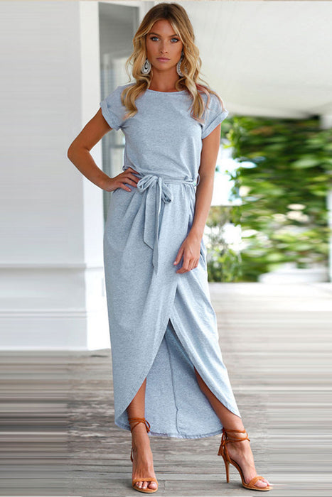 c332180c0e A| Chicloth Short Sleeve High Slit Solid Maxi Dress with Belt-Chicloth