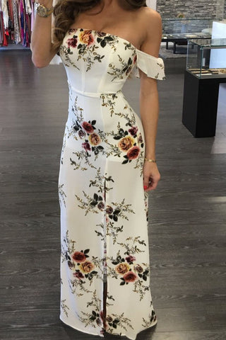 B| Strapless Floral Printed Split Maxi Dress-Chicloth
