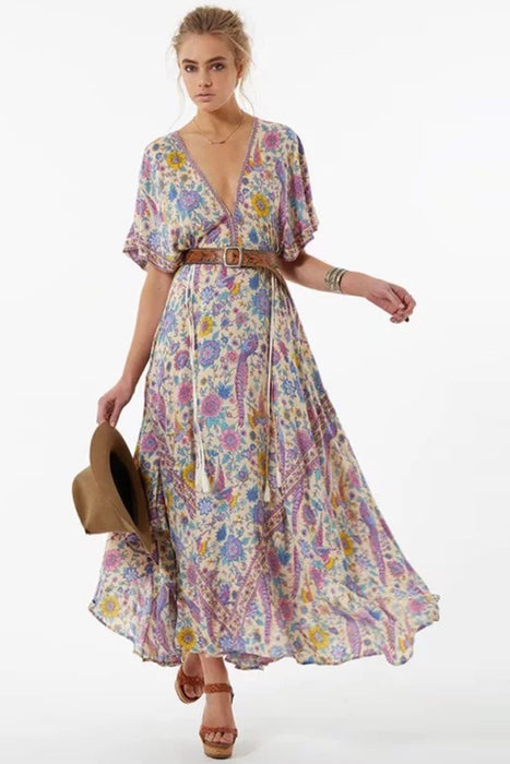 B| V Neck Floral Print Lace up Maxi Dress-Chicloth