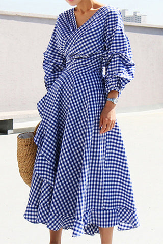 A| Chicloth Women's Casual V Neck Lantern Sleeve Plaid Miid Irregular Dress-Chicloth