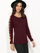 Load image into Gallery viewer, Burgundy Ladder Cut Out Sleeve T-shirt