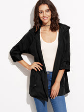 Load image into Gallery viewer, Black Drawstring Pockets Hooded Coat