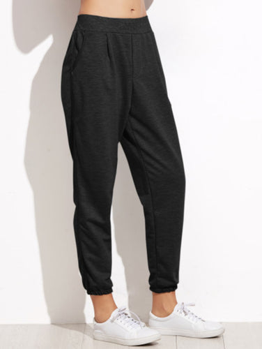 Black Elastic Waist Pocket Pants